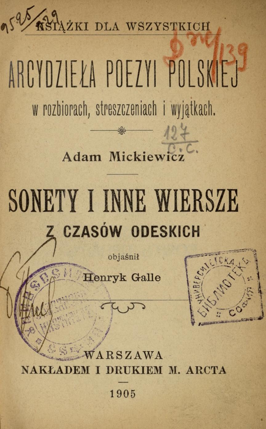 78 Sonety I Inne Wiersze Z Czasow Odeskich Adam